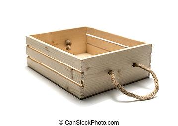 empty wood box isolated on white background