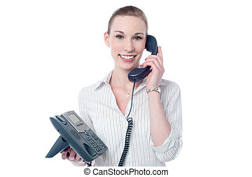 How may i assist you - Happy female executive answering a...