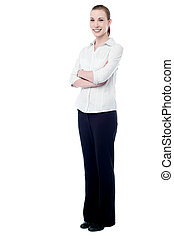 Confident business woman posing - Full length of young...