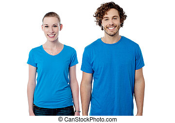 Smiling couple in casuals