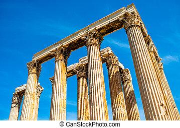 zeus, Templo, ruínas, em, Atenas,