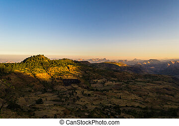 Ethiopian highlands at sunrise - Wide angle view from the...