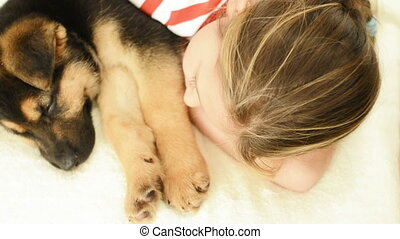 girl and sleeping Shepherd puppy - beautiful girl and...