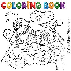 Coloring book tiger theme 1 - eps10 vector illustration.