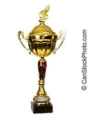 Gold Cup, the trophy for winning the Song Festival. Isolated...