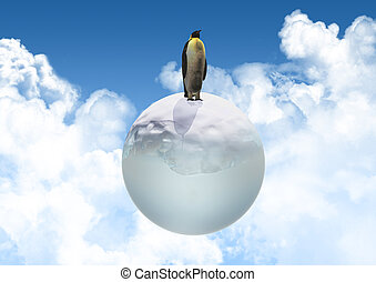 3D penguin on an icy globe