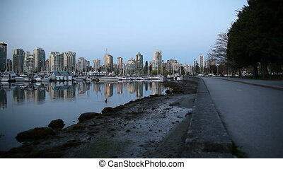 Vancouver BC Canada at Sunrise - Panning Movie of Vancouver...