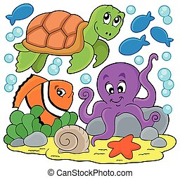 Sea animals thematic image - eps10 vector illustration.