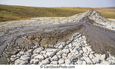 Mud Volcano Streams - Panning shot of streams of flowing...