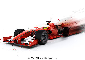 F1 generic racing car with special effect - 3D render of a...