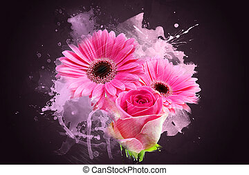 Grunge Gerbera daisies - Grunge style abstract background of...