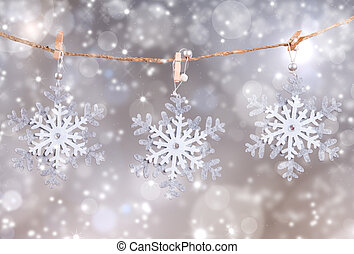 Christmas decoration inline on snow with abstract background