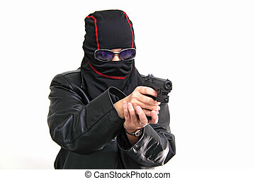 Terrorist in action isolated on white background