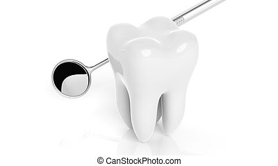 Molar tooth with dental mirror isolated on white background