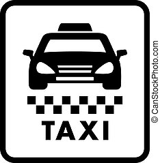 taxi car on white cab icon