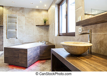 Amazing interior of the bathroom in a fashionable apartment