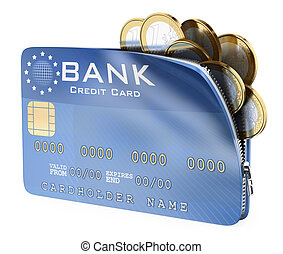 3D Credit card full of euro coins