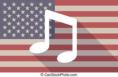 USA flag icon with a music note