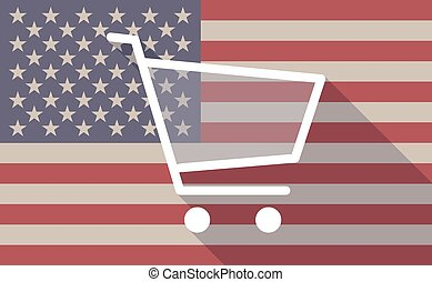 USA flag icon with a shopping cart - Illustration of an USA...