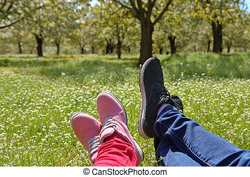 Feet in shoes of a couple on green field with flowers
