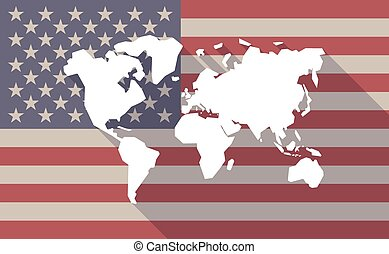 USA flag icon with a world map