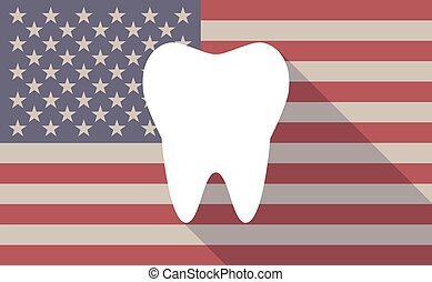 USA flag icon with a tooth - Illustration of an USA flag...