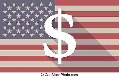 USA flag icon with a dollar sign