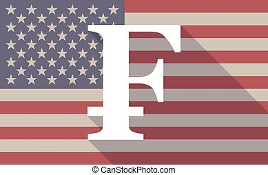 USA flag icon with a swiss frank sign - Illustration of an...