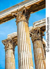 corintio,  zeus, templo, Columnas, grecia