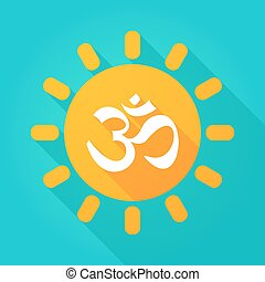 Long shadow sun icon with an om sign