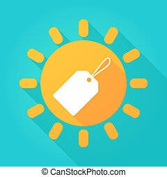 Long shadow sun icon with a product label
