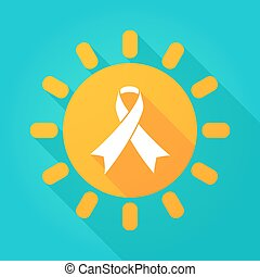 Long shadow sun icon with an awareness ribbon
