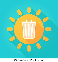 Long shadow sun icon with a trash can