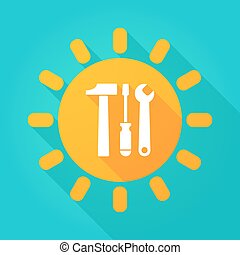 Long shadow sun icon with a tool set