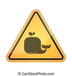 Danger signal icon with a whale