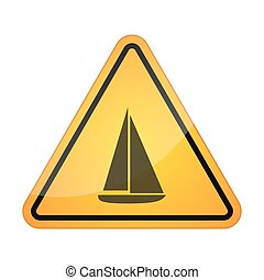 Danger signal icon with a ship