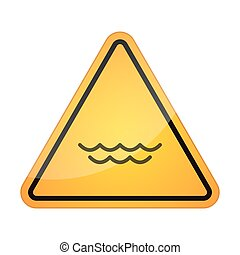 Danger signal icon with a water sign - Illustration of a...