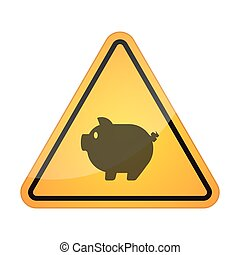 Danger signal icon with a pig