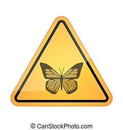Danger signal icon with a butterfly