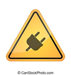 Danger signal icon with a plug