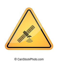 Danger signal icon with a satellite