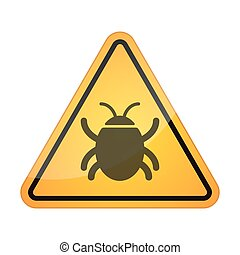 Danger signal icon with a bug