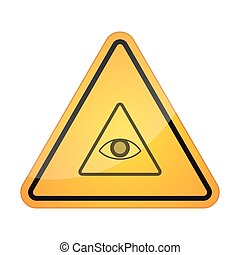 Danger signal icon with an all seeing eye