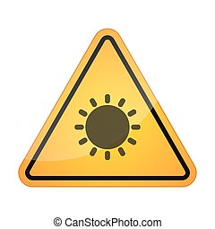 Danger signal icon with a sun - Illustration of a danger...