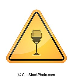 Danger signal icon with a glass