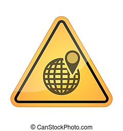 Danger signal icon with a world globe