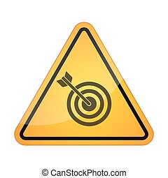 Danger signal icon with a dart board - Illustration of a...