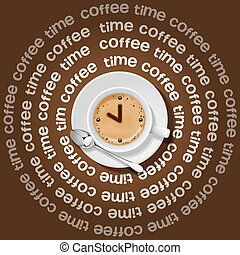 cup of clock in cappuccino