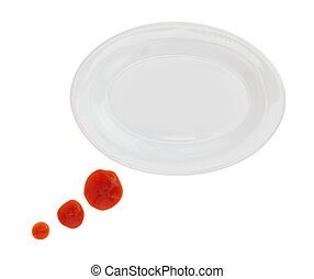 Plate with ketchup stains forming a text bubble isolated on white