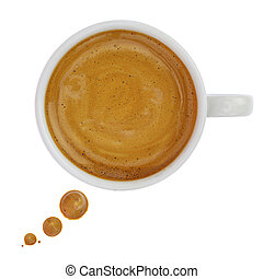 Coffee cup with drops forming a text bubble isolated on...